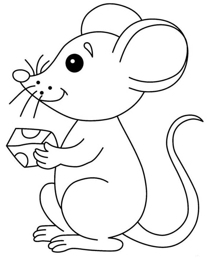 desenho para colorir rato para criança