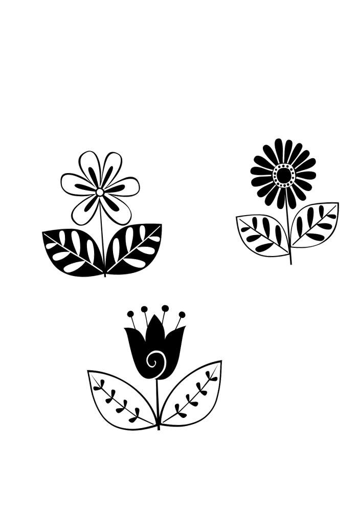 desenhos de flores retrô para imprimir