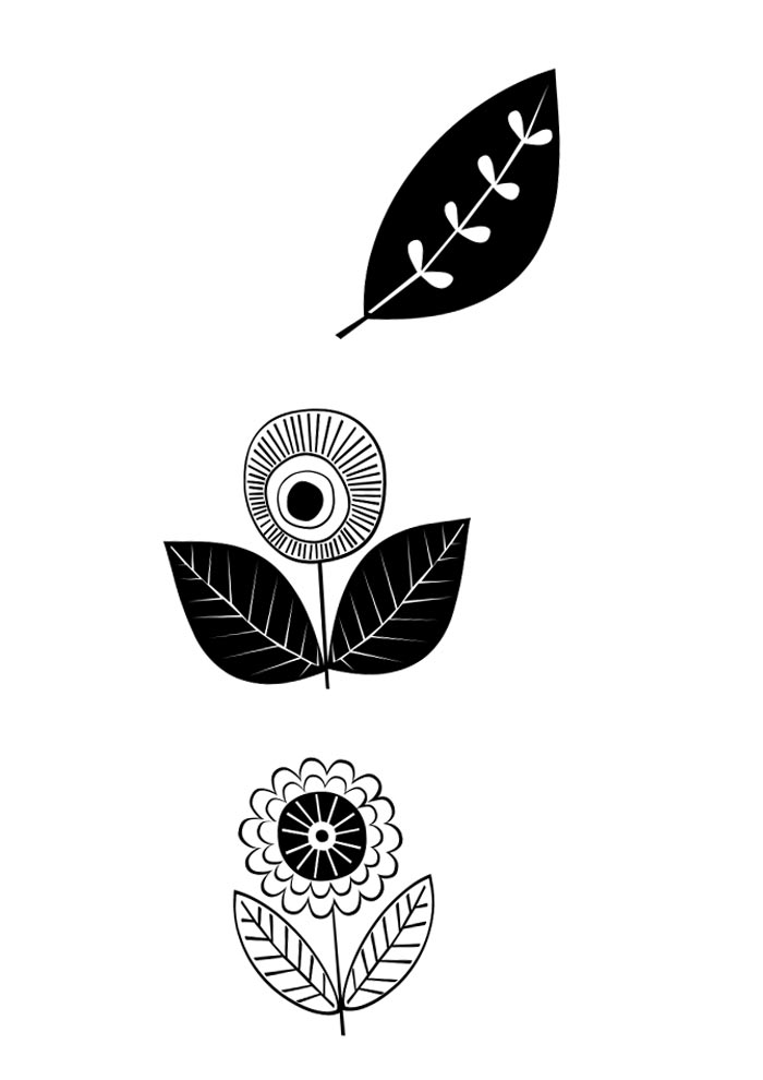 desenhos de flores retrô