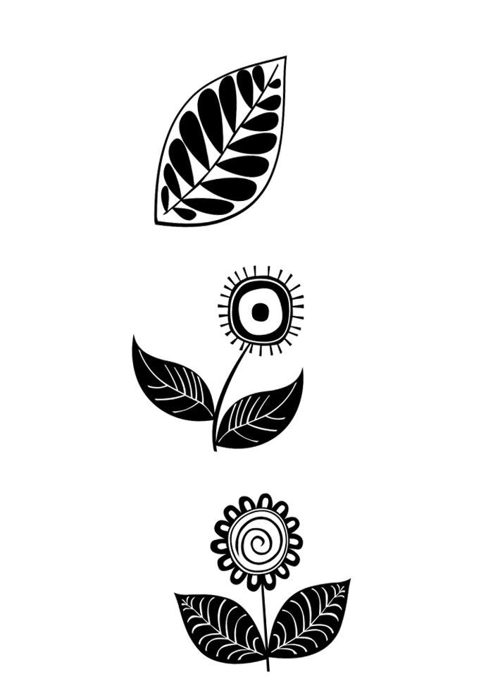 flor e folha retrô para imprimir