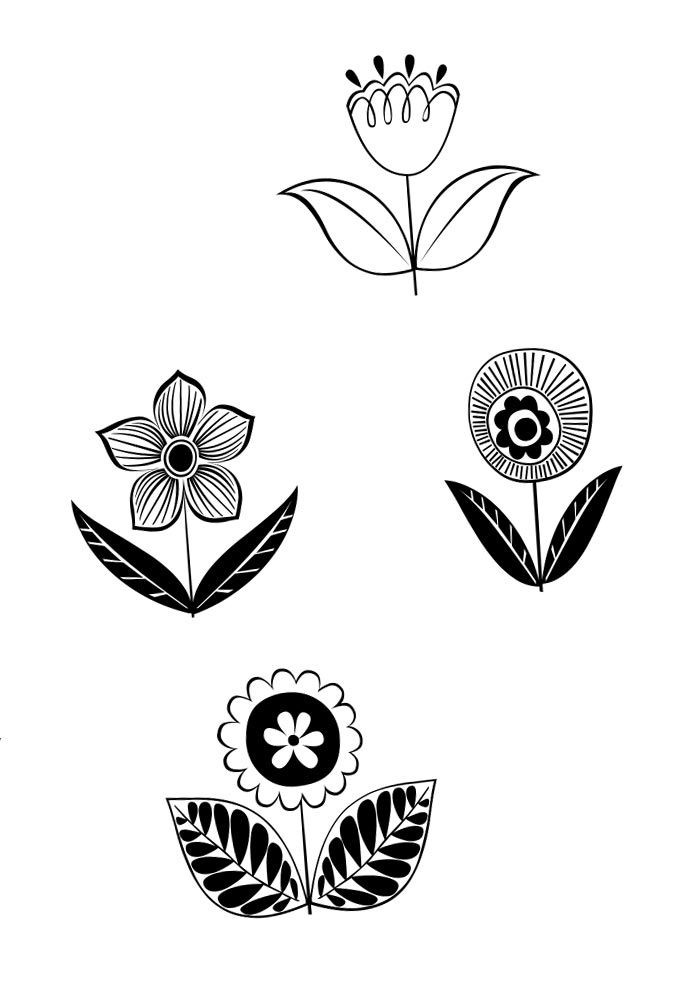 flores retrô pequenas para colorir