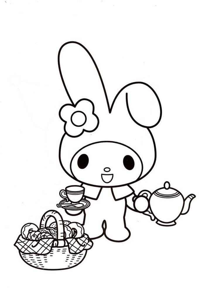 hello kit kawaii para colorir