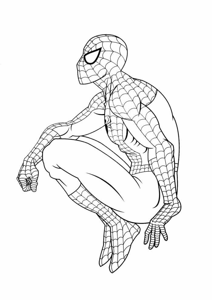 homem aranha para colorir agachado de perfil
