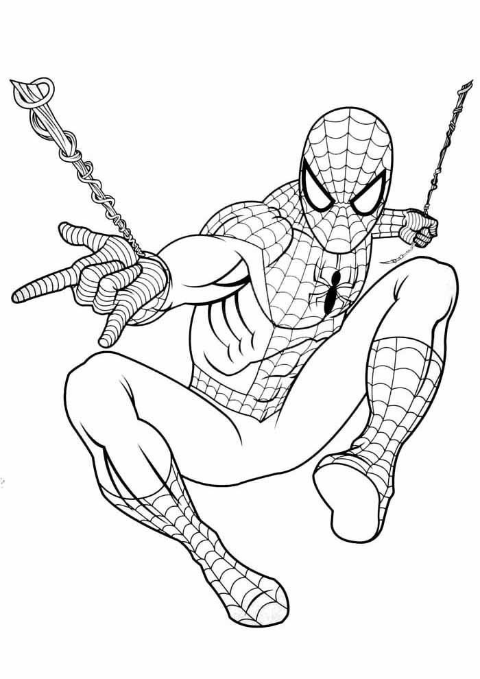 homem aranha para colorir lançando a teia