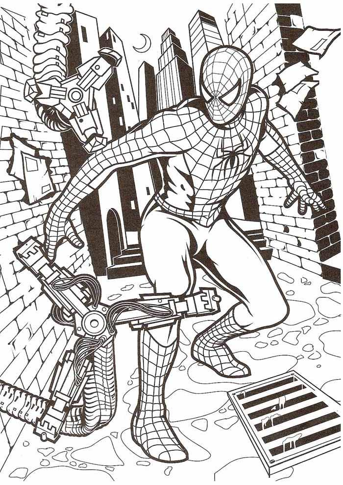 homem aranha para colorir lutando