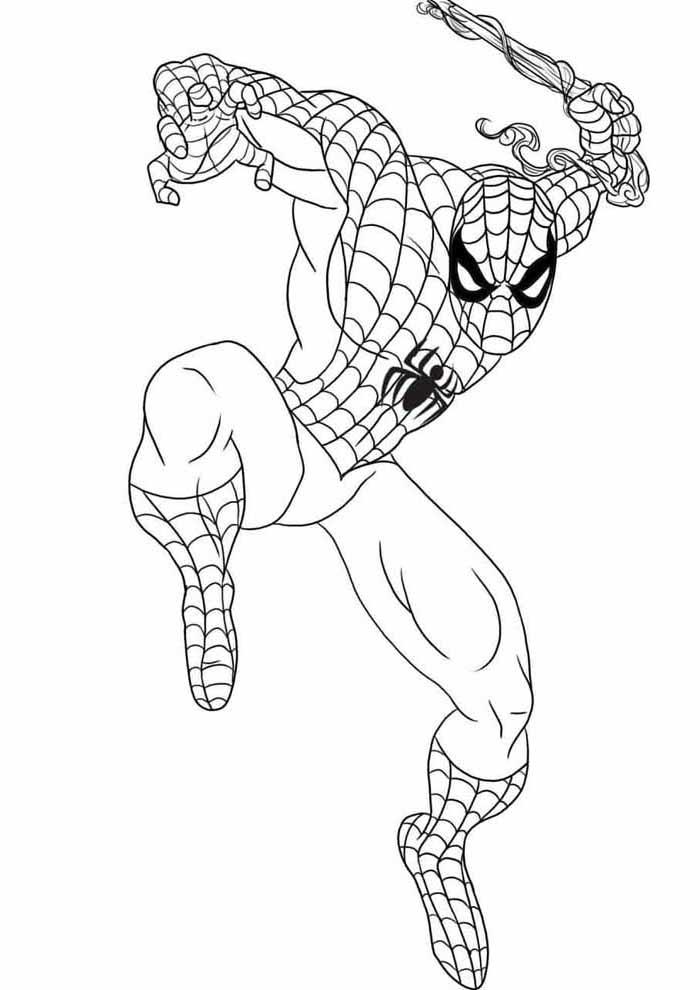 homem aranha para colorir saltando