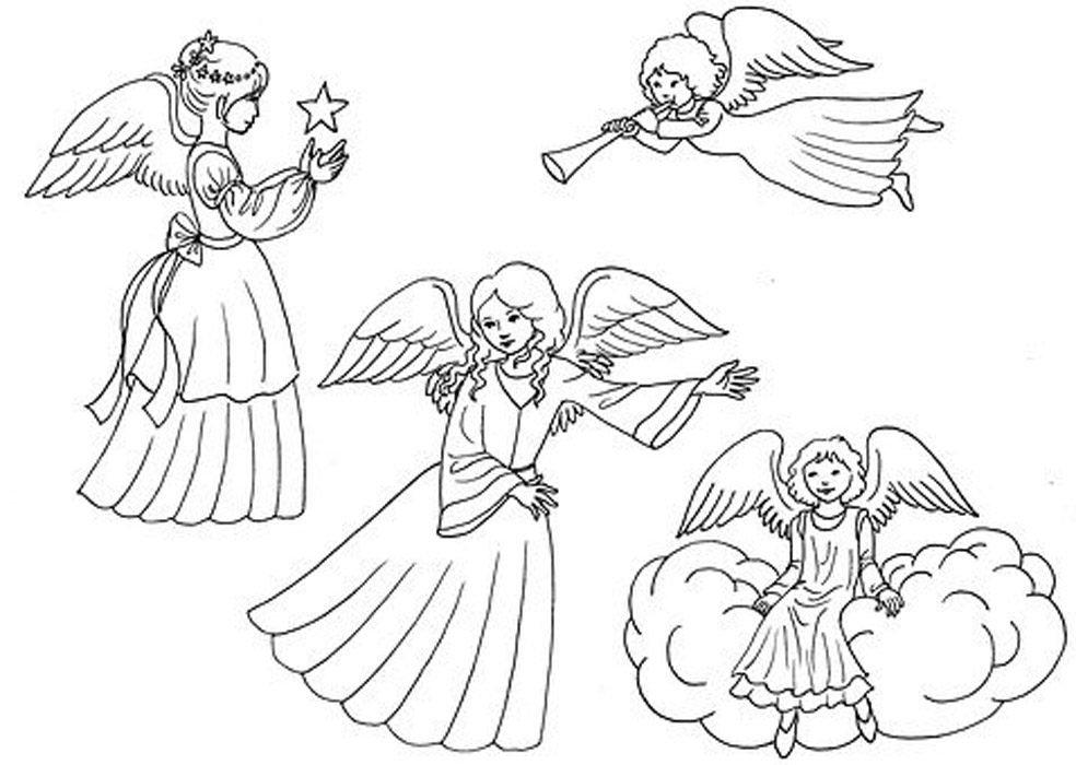 imagens de anjos para colorir