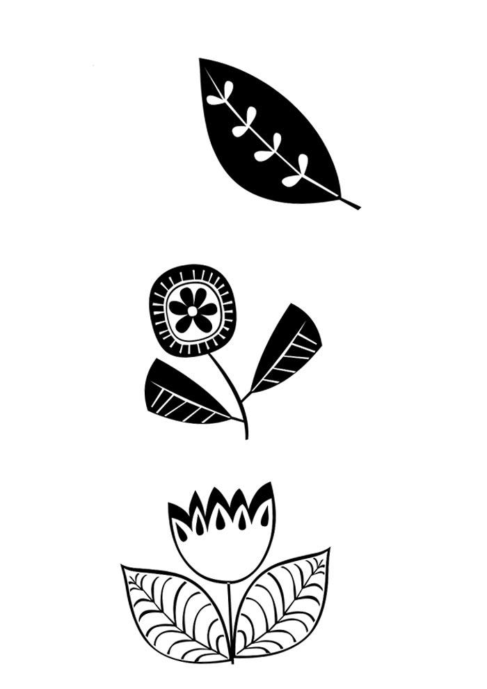 imprimir e colorir flor retrô