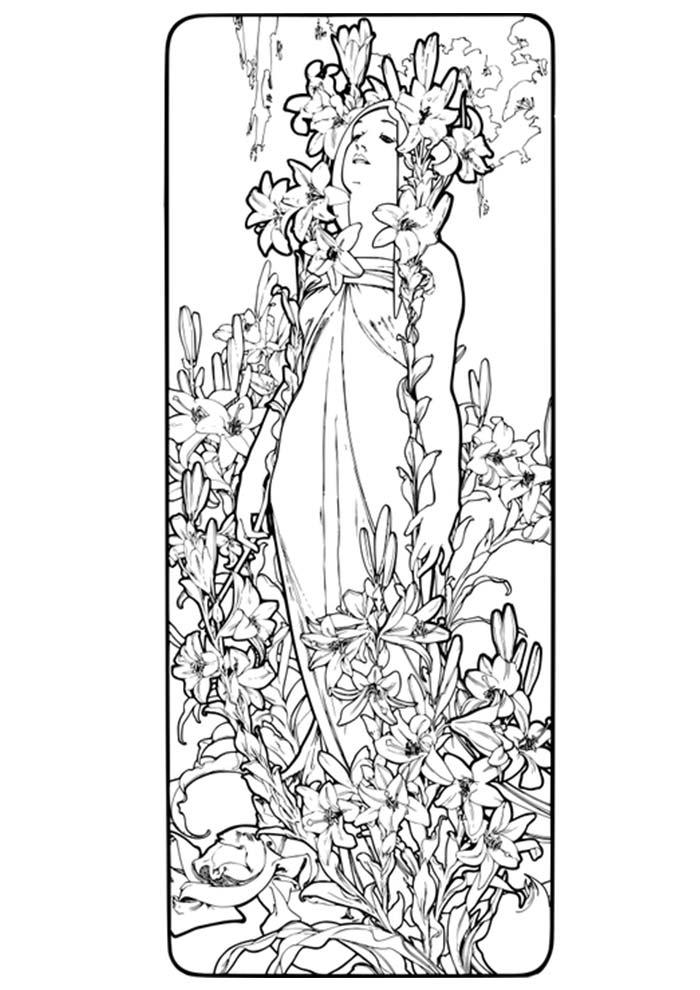 mulher para colorir com flores