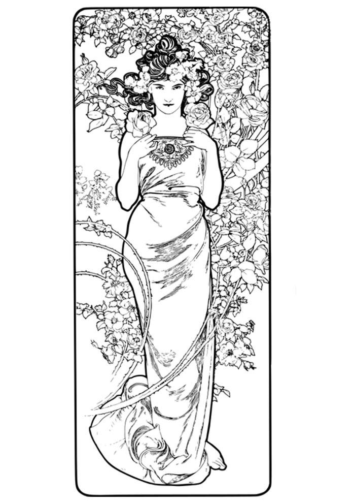 mulher vestido longo e flores para colorir