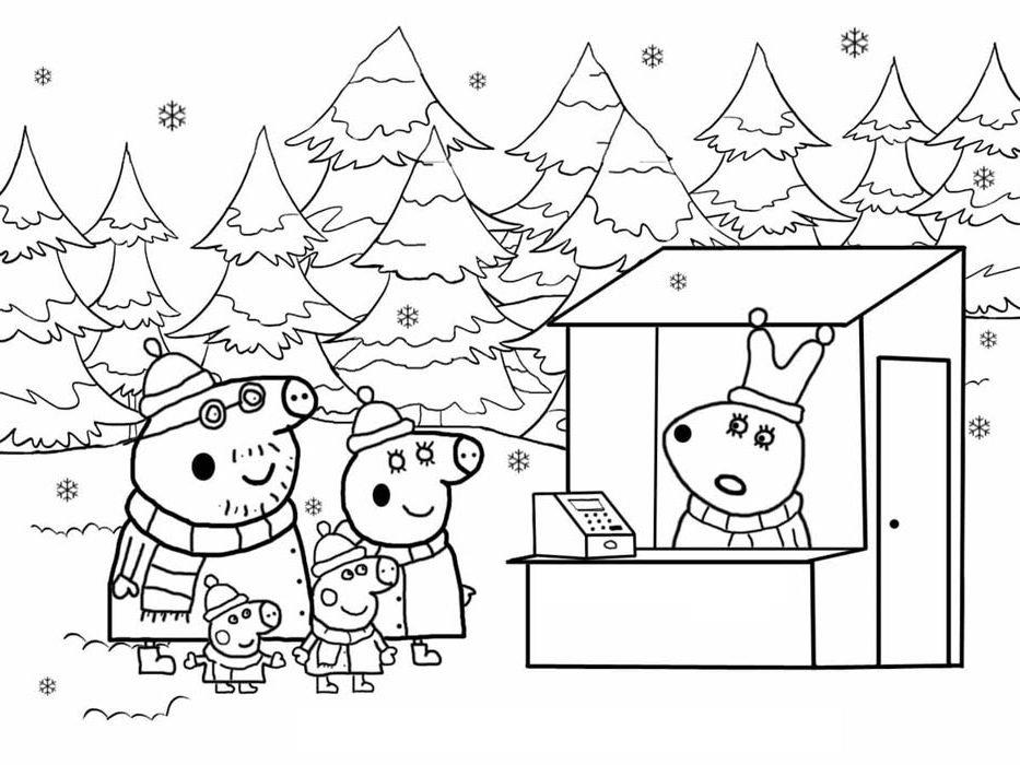 natal para colorir peppa pig
