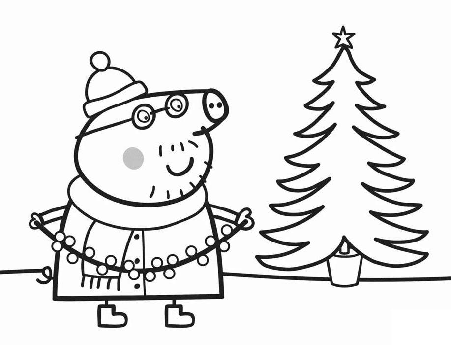 peppa pig arvore de natal para colorir