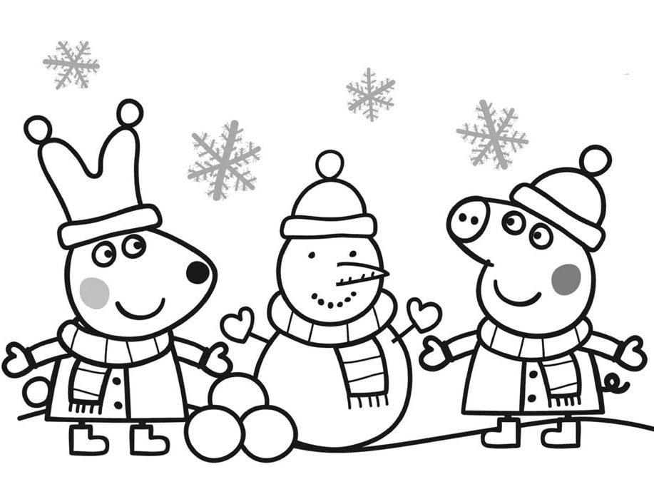 peppa pig boneco de neve para colorir