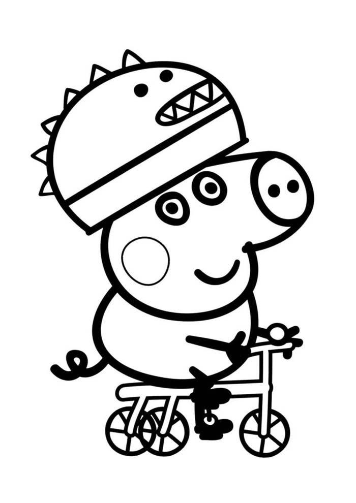 peppa pig de bicicleta para colorir
