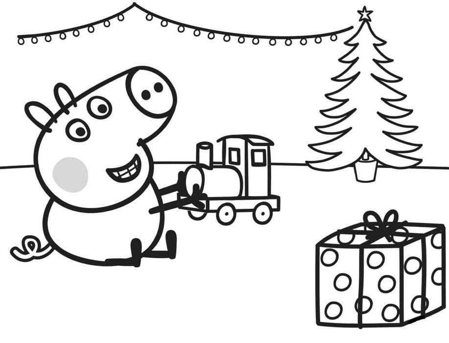 peppa pig desenho de natal para colorir