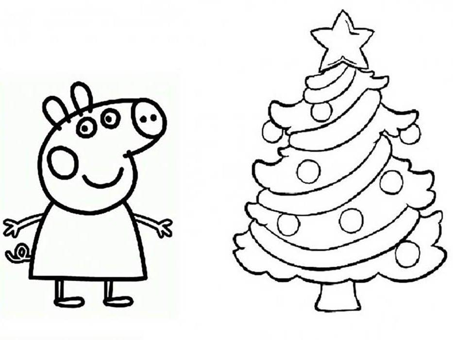 peppa pig e arvore de natal para colorir
