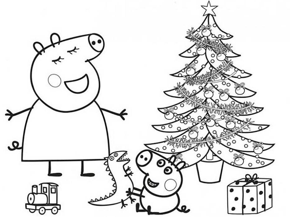 peppa pig natal para colorir