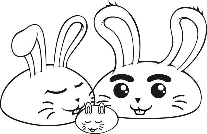 coelhos kawaii para colorir
