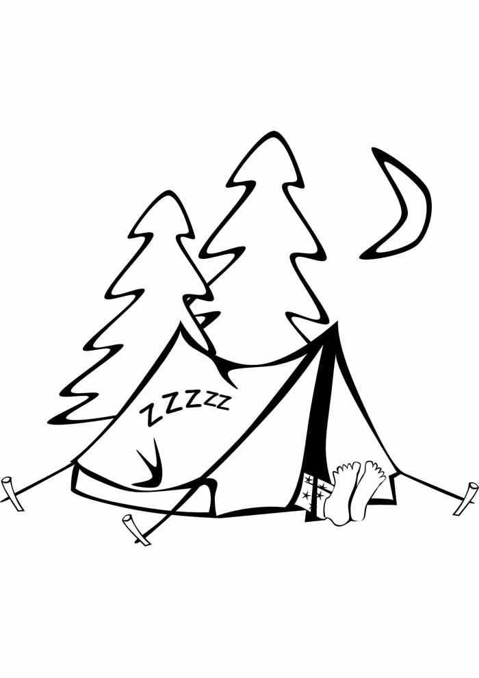 árvore para colorir acampamento