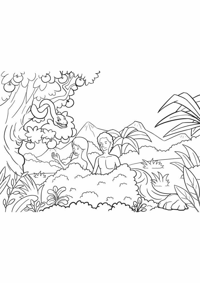 árvore para colorir Adão e Eva