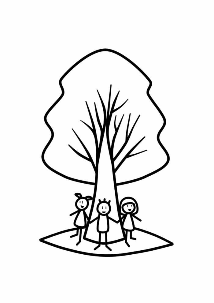 árvore para colorir com crianças