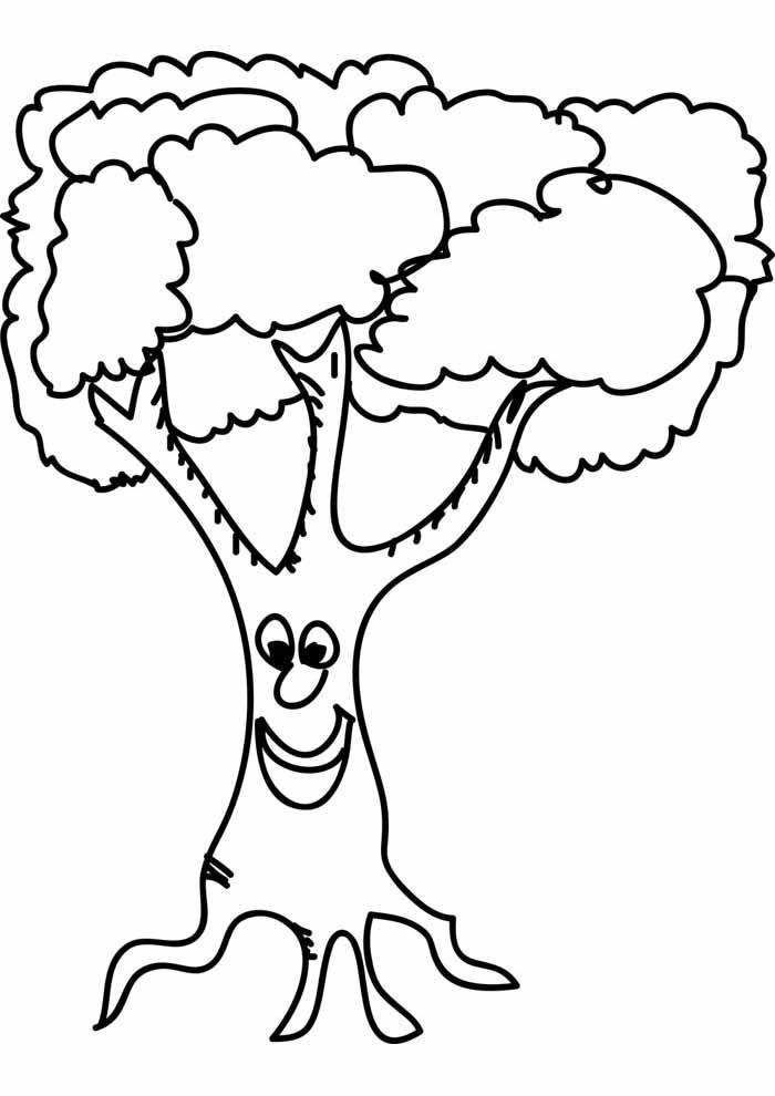 árvore para colorir com rosto sorrindo