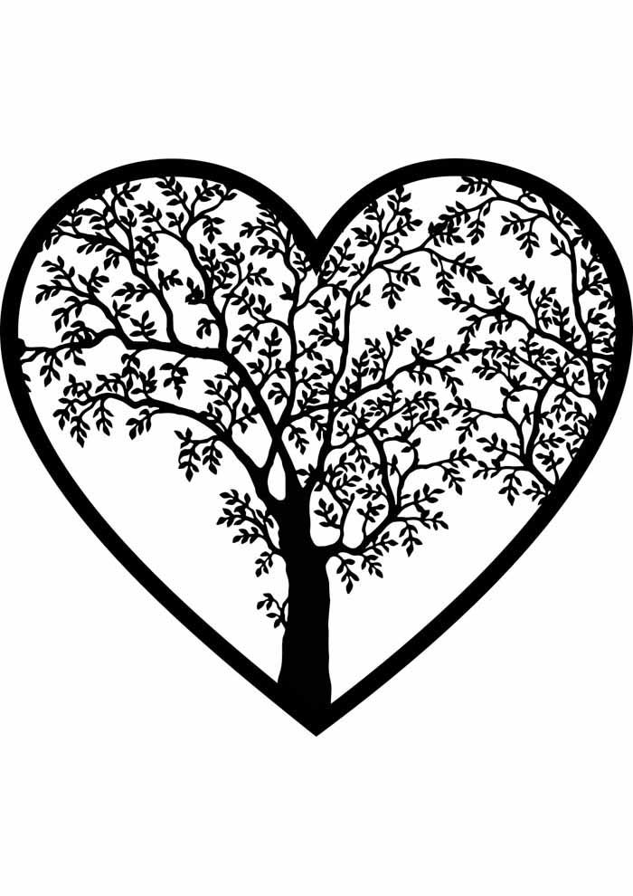 árvore para colorir dentro coração