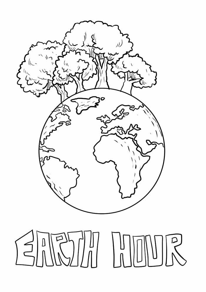 árvore para colorir planeta terra