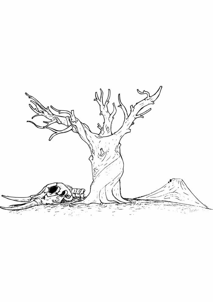 árvore para colorir tronco