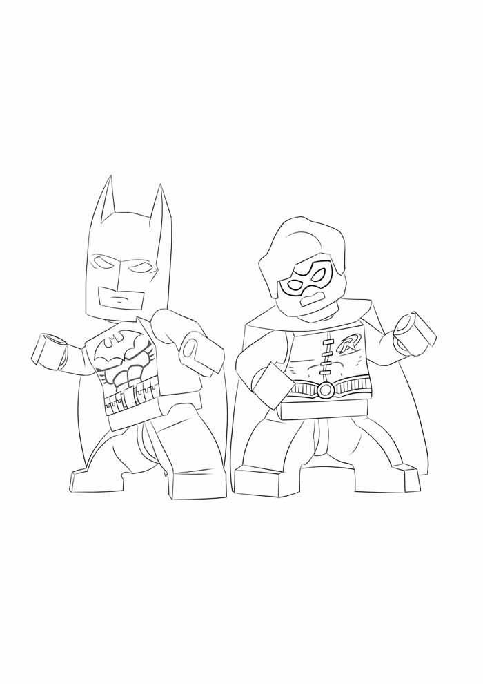 batman e robin lego para colorir