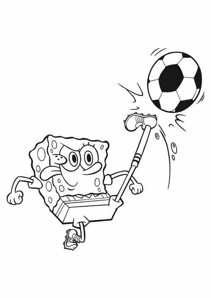 bob esponja para colorir chutando bola
