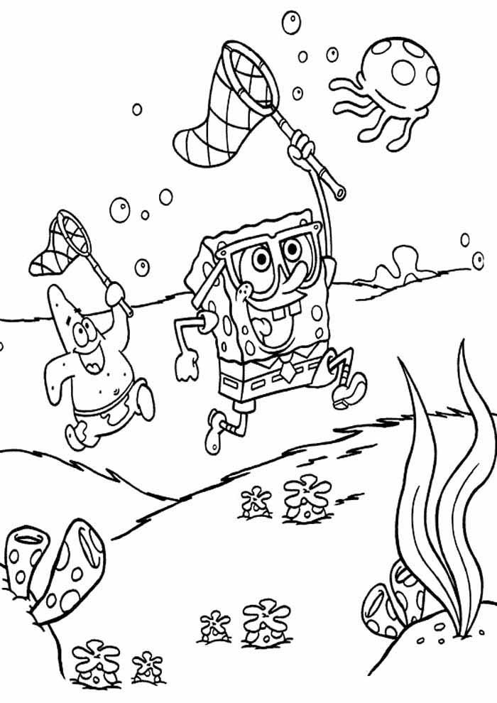 bob esponja para colorir e patrick pegando água viva