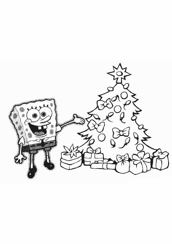bob esponja para colorir na árvore de natal