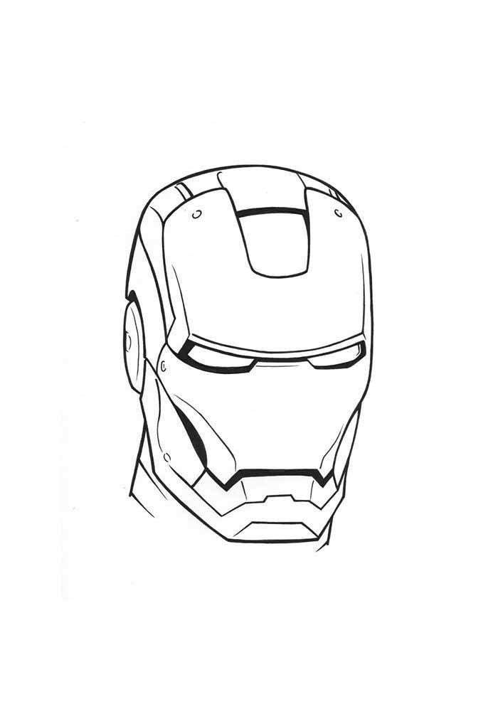 cabeça homem de ferro para colorir