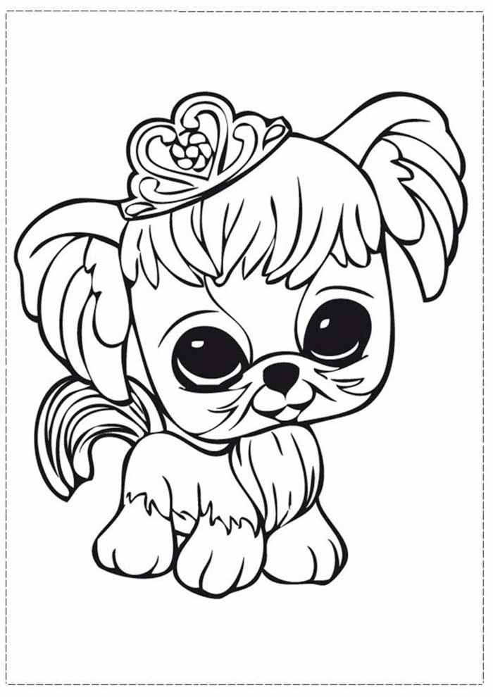 cachorra-para-colorir-com-tiara-princesa