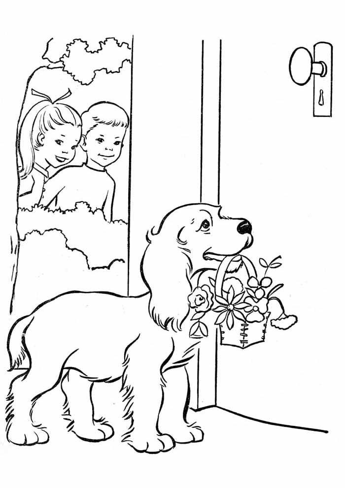 cachorro-para-colorir-carregando-cesta-de-flores