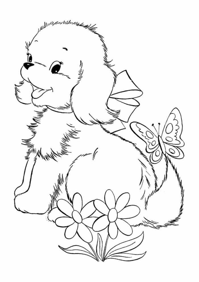 cachorro-para-colorir-com-borboleta-no-rabo