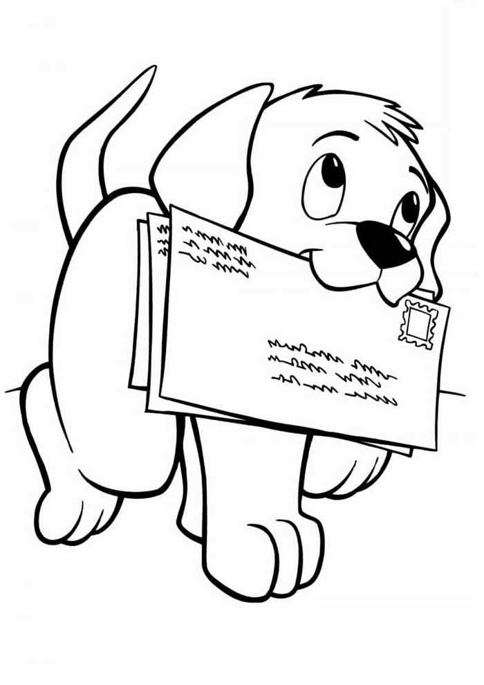 cachorro-para-colorir-com-cartas-na-boca