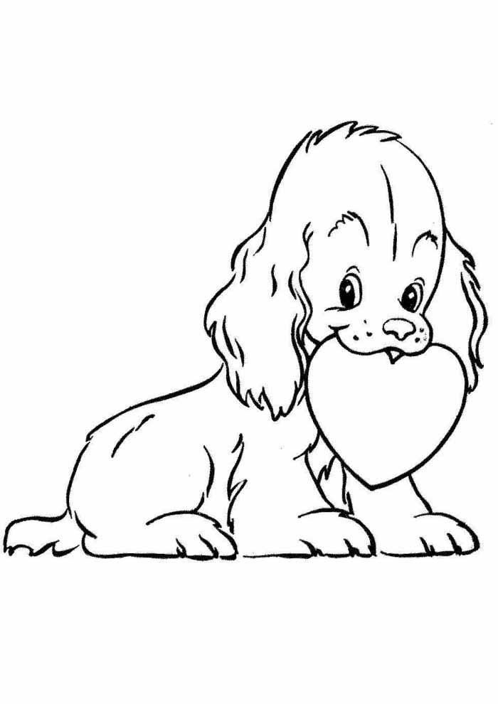 cachorro-para-colorir-com-coracao-na-boca