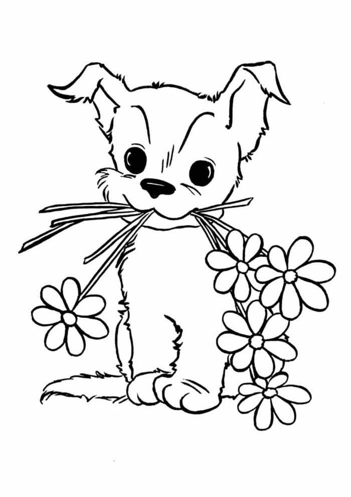 cachorro-para-colorir-com-flores-na-boca