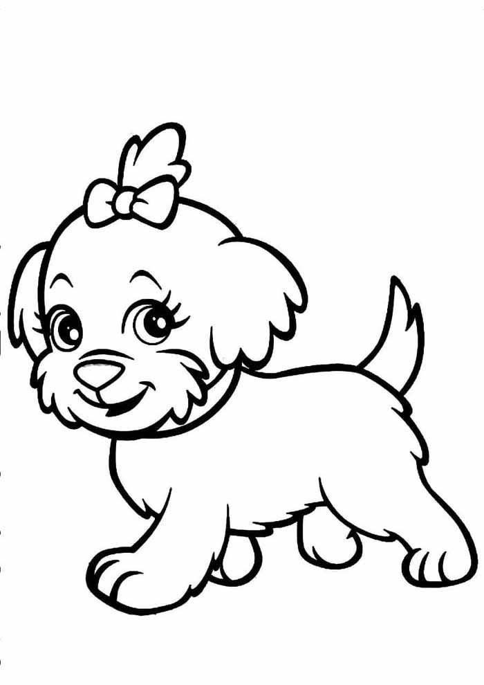 cachorro-para-colorir-com-laco-na-cabeca