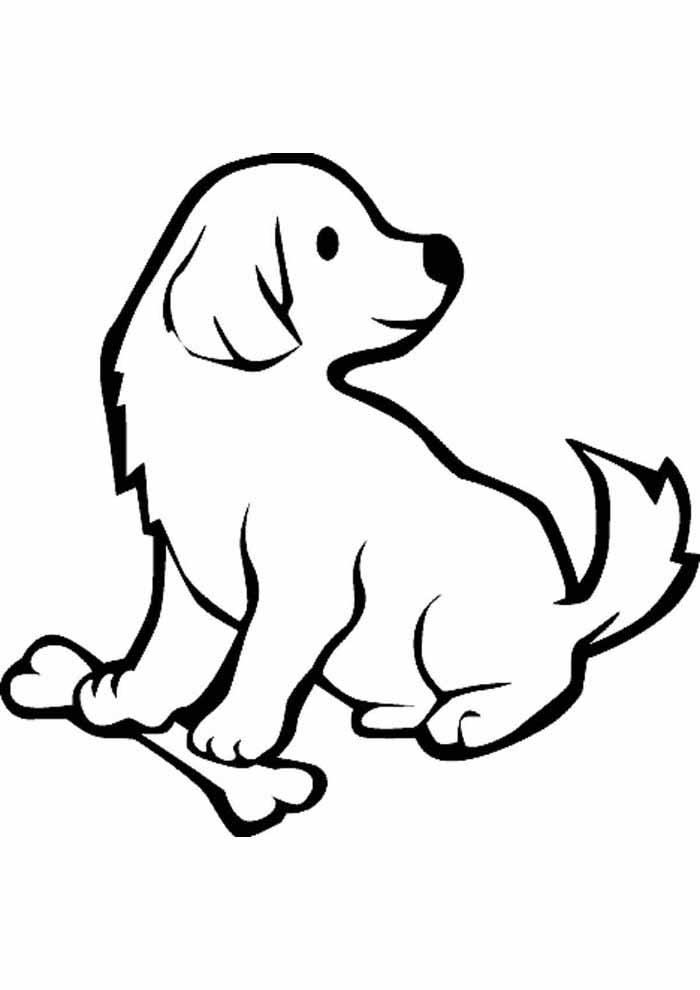 cachorro-para-colorir-com-osso-olhando-para-tras