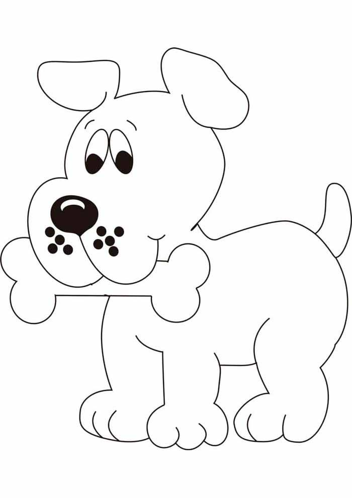 cachorro-para-colorir-fofo-com-osso-na-boca