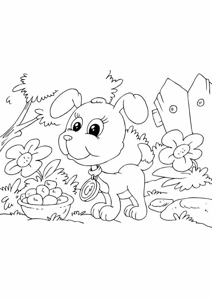 cachorro-para-colorir-na-floresta