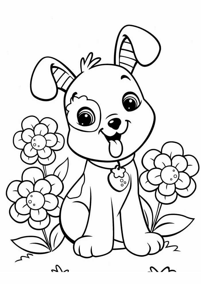 cachorro-para-colorir-no-jardim