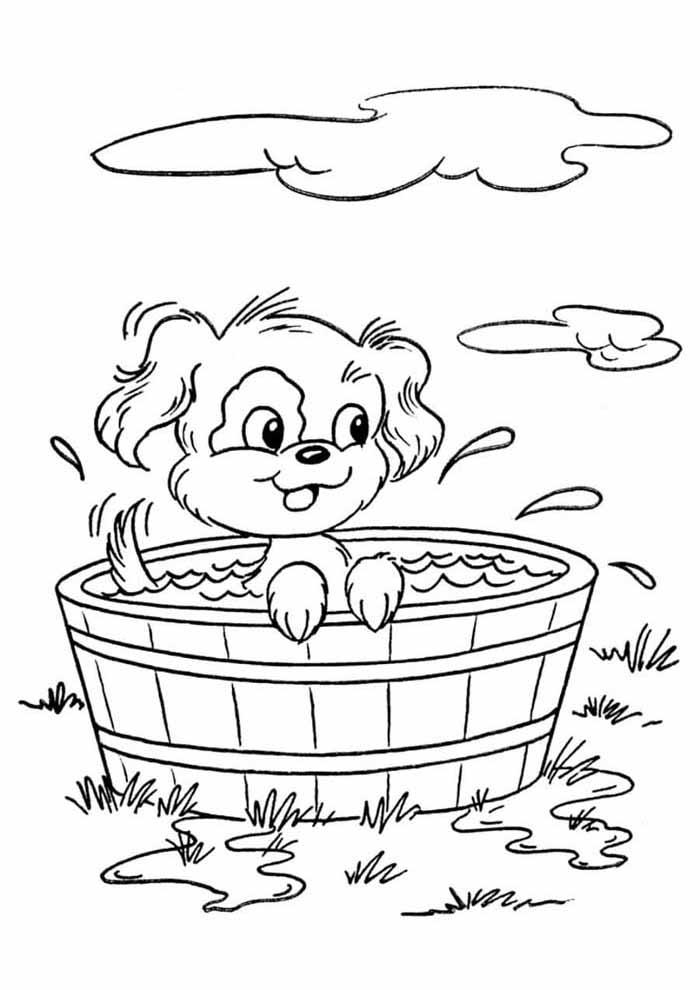 cachorro-para-colorir-tomando-banho