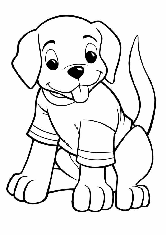 cachorro-para-colorir-usando-camiseta