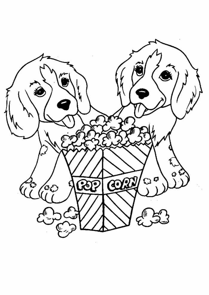 cachorros-para-colorir-comendo-pipoca