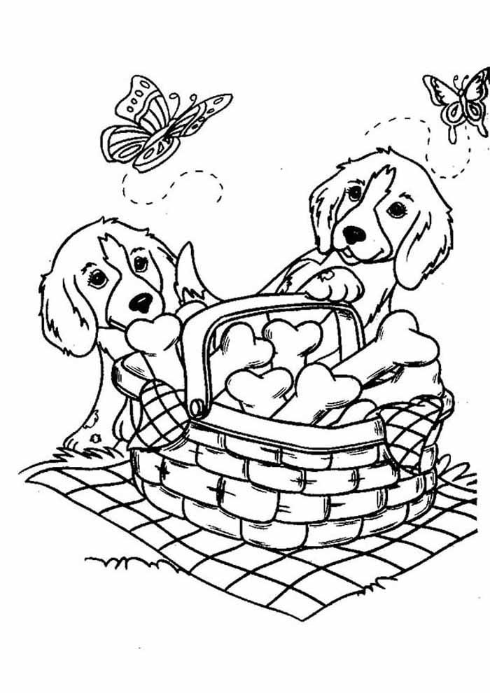 cachorros-para-colorir-fazendo-pic-nic