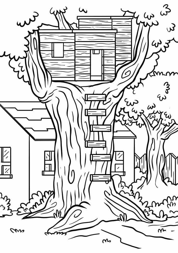casa na árvore para colorir